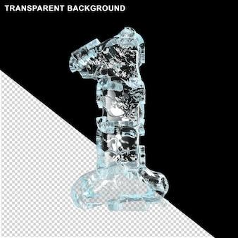Symbolen gemaakt van ijs op een transparante achtergrond. 3d nummer 1