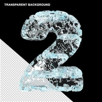 Symbolen gemaakt van ijs op een transparante achtergrond. 3d nummer 2