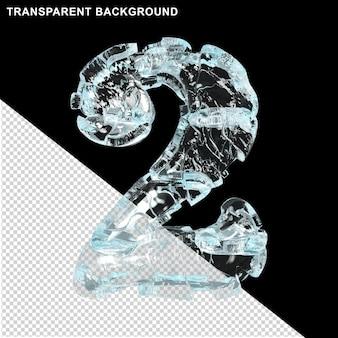 Symbolen gemaakt van ijs op een transparante achtergrond. 3d-nummer 2