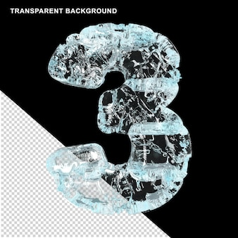 Symbolen gemaakt van ijs op een transparante achtergrond. 3d-nummer 3