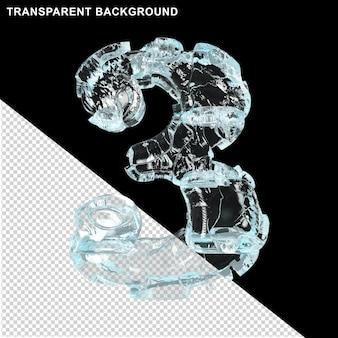 Symbolen gemaakt van ijs op een transparante achtergrond. 3d nummer 3