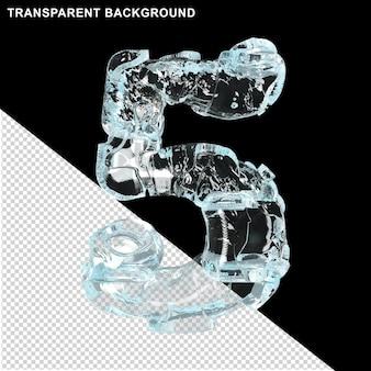 Symbolen gemaakt van ijs op een transparante achtergrond. 3d-nummer 5