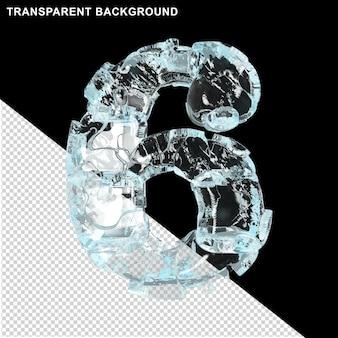 Symbolen gemaakt van ijs op een transparante achtergrond. 3d-nummer 6