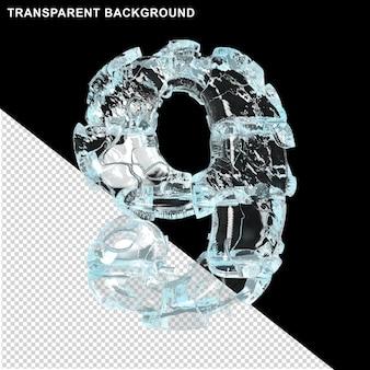 Symbolen gemaakt van ijs op een transparante achtergrond. 3d-nummer 9