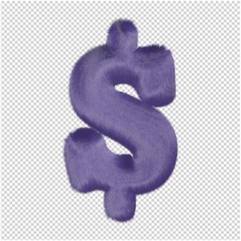 Symbolen gemaakt van paarse vacht. 3d-symbool