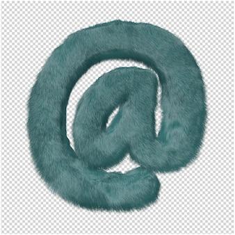 Symbool gemaakt van bont 3d-rendering