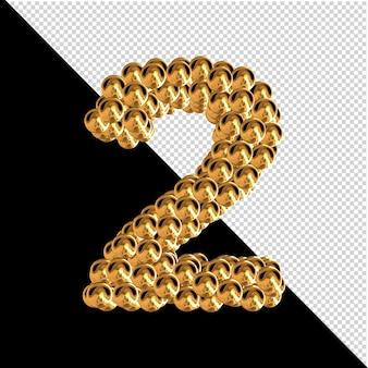 Symbool gemaakt van gouden bollen. 3d-nummer 2