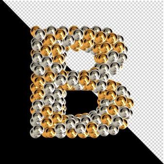 Symbool gemaakt van gouden en zilveren bollen op een transparante achtergrond. 3d-hoofdletter b