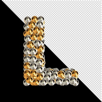 Symbool gemaakt van gouden en zilveren bollen op een transparante achtergrond. 3d-hoofdletter l