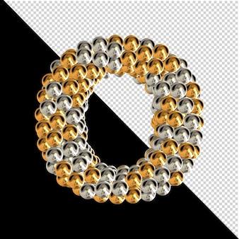 Symbool gemaakt van gouden en zilveren bollen op een transparante achtergrond. 3d-hoofdletter o