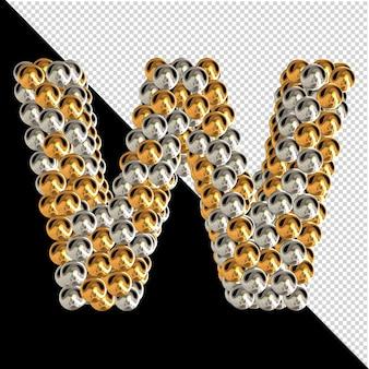 Symbool gemaakt van gouden en zilveren bollen op een transparante achtergrond. 3d-hoofdletter w