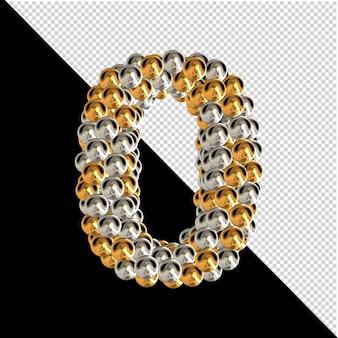 Symbool gemaakt van gouden en zilveren bollen op een transparante achtergrond. 3d-nummer 0