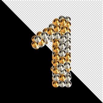 Symbool gemaakt van gouden en zilveren bollen op een transparante achtergrond. 3d-nummer 1