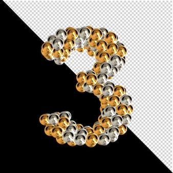 Symbool gemaakt van gouden en zilveren bollen op een transparante achtergrond. 3d-nummer 3