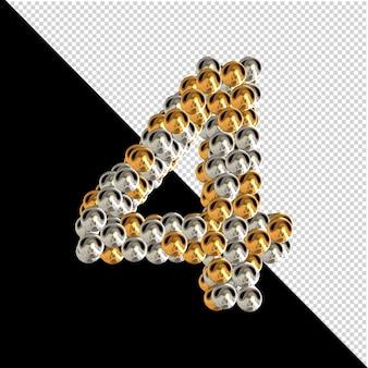 Symbool gemaakt van gouden en zilveren bollen op een transparante achtergrond. 3d-nummer 4