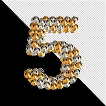 Symbool gemaakt van gouden en zilveren bollen op een transparante achtergrond. 3d-nummer 5