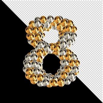 Symbool gemaakt van gouden en zilveren bollen op een transparante achtergrond. 3d-nummer 8