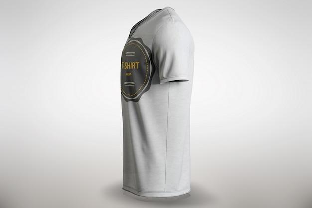 T-shirt bianca mascherare la vista laterale