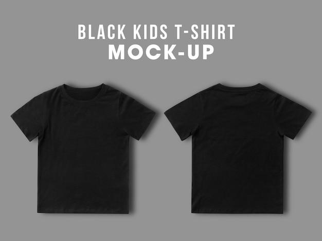 T-shirt da bambino nera in bianco mock up modello per il tuo design, vista frontale e posteriore