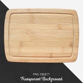 Tabla de cortar de madera del rectángulo en fondo transparente