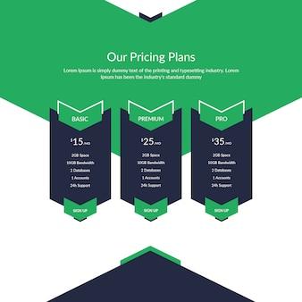 Tabla de precios creativos