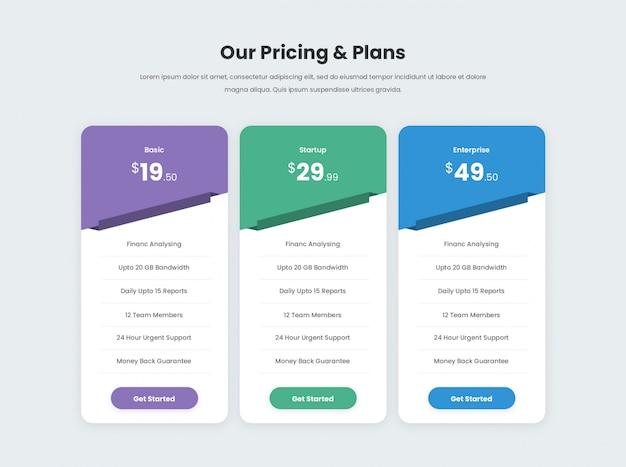 Tabla de precios mínima y moderna