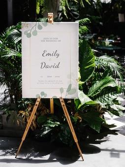 Tablero de bienvenida de boda