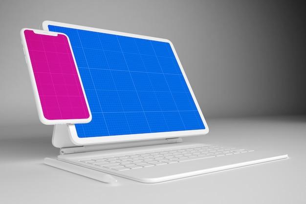 Tablet bianco con tastiera e modello mobile