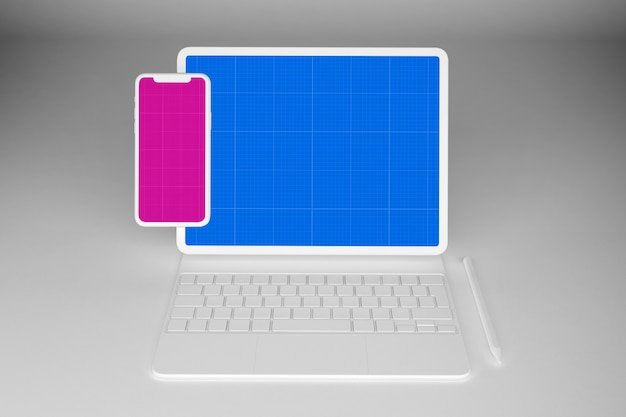 Tablet bianco e modello mobile