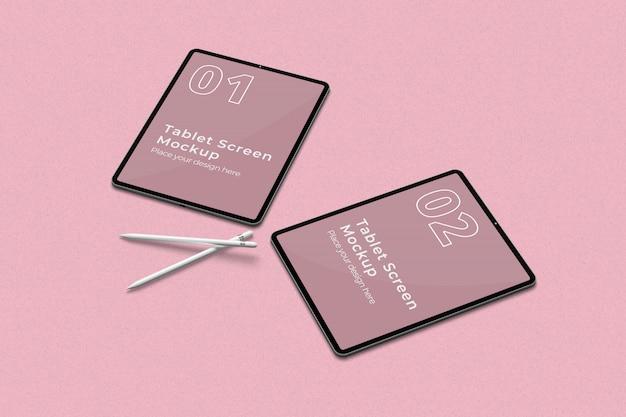 Tablet leggen met twee potloodmodellen juiste weergave