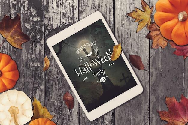 Tablet mockup met halloween design
