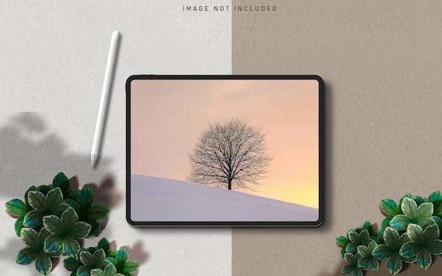 Tablet pro mockup scene maker met schaduw-overlay en stylus