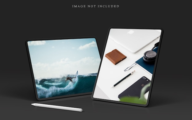 Tablet pro mockup scene maker met stylus pen