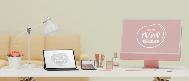 Tableta digital con accesorios de pantalla de maqueta