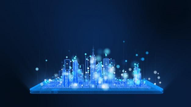 Tableta digital brillante y estructura metálica de la ciudad en partículas de colores azules y blancos brillantes, la línea de partículas esfera se eleva. tecnología digital y concepto de comunicación.