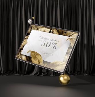 Tableta digital con hojas doradas maqueta 3d