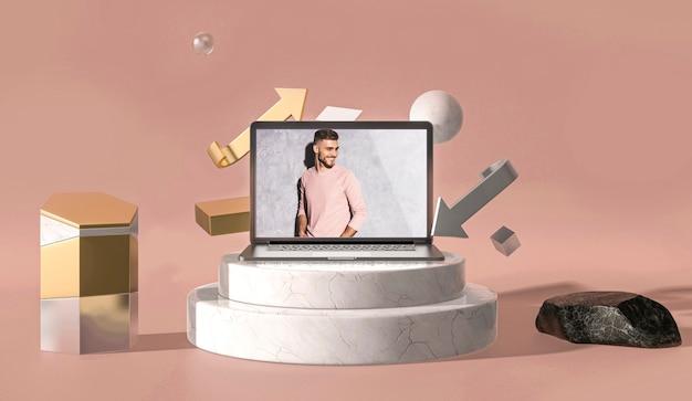 Tableta digital de maqueta 3d con hombre de moda en las escaleras
