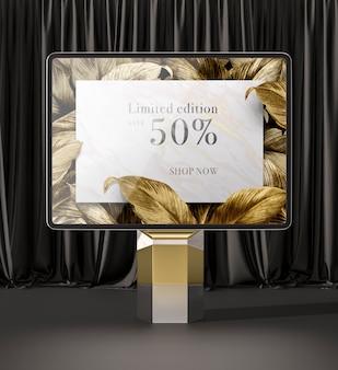 Tableta digital con vista frontal de hojas doradas