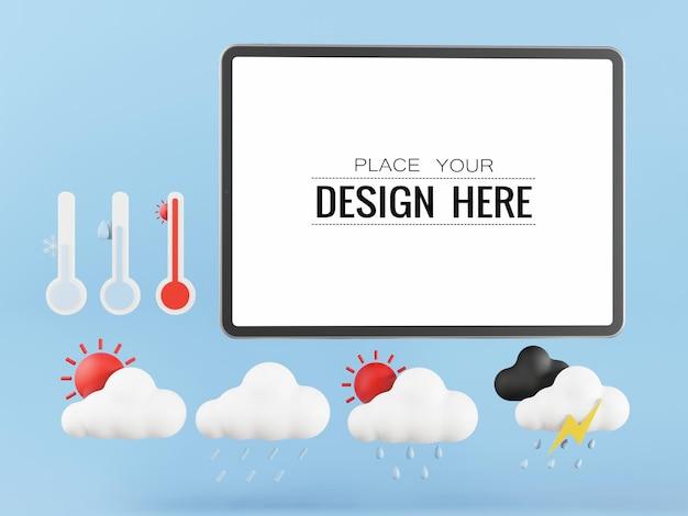 Tableta de pantalla en blanco con elementos meteorológicos