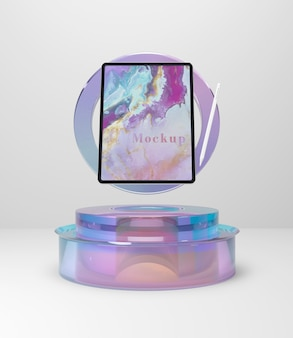 Tabletapparaat op glazen ondersteuning