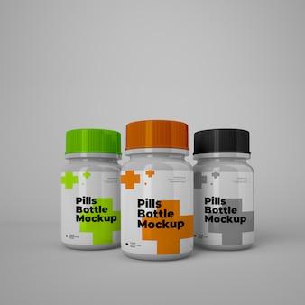 Tabletas botellas maquetas psd