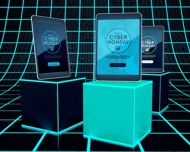 Tabletas de cyber monday en cubos de neón