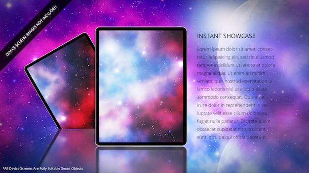 Tablets zitten in een futuristische en psychedelische omgeving