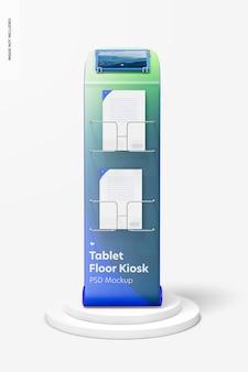 Tabletvloer kiosk mockup, vooraanzicht