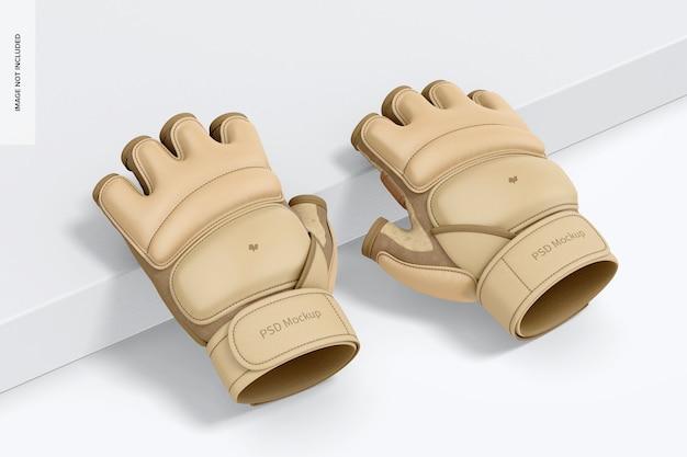 Taekwondo handschoenen mockup, leunend