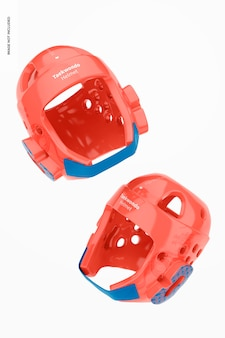 Taekwondo helmen mockup, drijvend