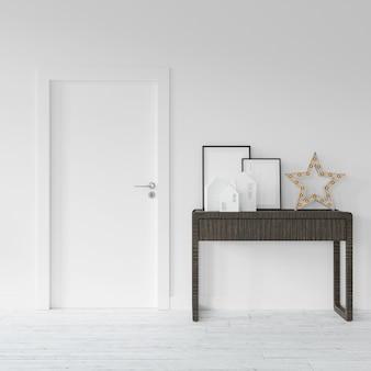 Tafel met frames en decoraties voor een deur