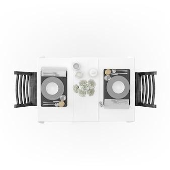Tafel met tafelkleed, servies en stoelen