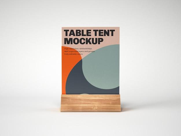 Tafel tent met houten houder mockup