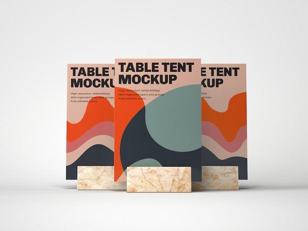 Tafel tent met marmeren houder mockup